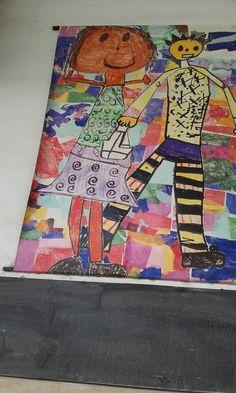 gigantografia montada sobre lona plastica a partir de una produccion colectiva donde todos los niños aportaban a las figuras y al fondo.