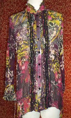 V CRISTINA grape abstract asymmetrical hem long sleeve tunic blouse M (T38-03J5F #VChristina #Blouse #Casual