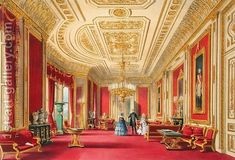 The Crimson Drawing Room, Windsor Castle, 1838 by James Baker Pyne - Reproduction Oil Painting Victorian Interiors, Loft Interiors, Victorian Homes, Modern Interiors, Luxury Homes Interior, Luxury Home Decor, Interior Architecture, Buckingham Palace London, Staircase Makeover
