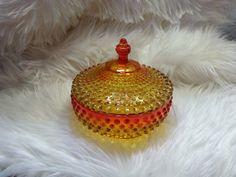Vintage Hobnail Yellow and Red Candy Dish by TeaLightedTeacups