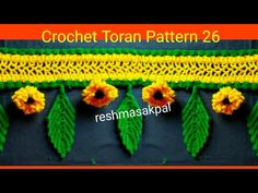 How To Crochet Two Side Leaf With Chain Spaces In The Middle Tutorial 1 Crochet Circle Vest, Crochet Lace Edging, Crochet Circles, Macrame Toran Designs, Crochet Designs, Crochet Patterns, Ganpati Decoration Design, Fabric Bunting, Buntings