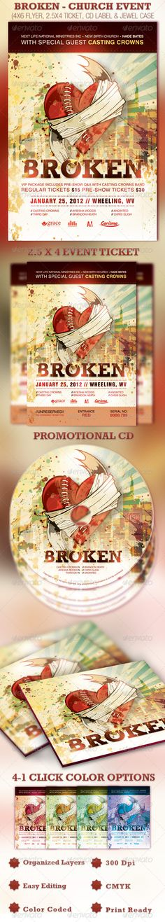 Broken Church Event Flyer, Ticket and CD Template - Price: $7.00