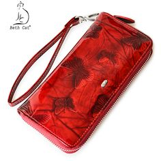 Beth Cat Women Wallet Genuine Leather Butterfly Print Fashion Zipper Long Wallets Clutch Lady Vintage Clutch Bag Coin Purse Small Coin Purse, Coin Purse Wallet, Clutch Bag, Vintage Clutch, Butterfly Print, Long Wallet, Cow Leather, Wallets For Women, Leather Wallet