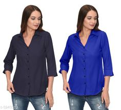 Checkout this latest Shirts Product Name: *Fashionable Contemporary Women's Polyester Solid Women's Shirts(Pack Of 2)* Fabric: Polyester Sleeve Length: Three-Quarter Sleeves Pattern: Solid Multipack: 2 Sizes: S, M, L, XL Country of Origin: India Easy Returns Available In Case Of Any Issue   Catalog Rating: ★3.8 (293)  Catalog Name: Fashionable Contemporary Women's Polyester Solid Women's Shirts Combo CatalogID_446822 C79-SC1022 Code: 405-3240570-1131