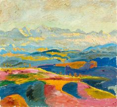 Cuno Amiet (Swiss, 1868-1961), Blick auf die Berner Alpen [View of the Bernese Alps], 1925. Oil on canvas, 55 x 60 cm.
