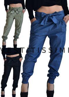 Pantaloni donna laccio fiocco vita bassa bow pinces sarouel cotone tasche P07