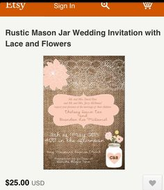 Cute wedding invitations- initials in the vase is a great touch