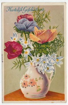 Postcards - Greetings & Congrads #  572 - Happy New Year - Flowers