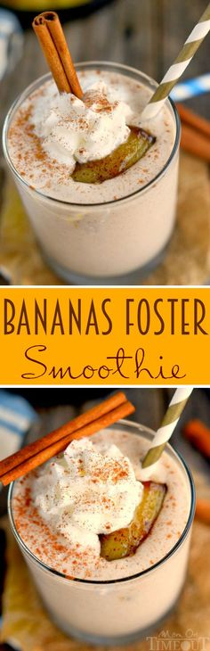 You'll want to wake up to this Bananas Foster Smoothie! Yummy banana and caramel flavors in a protein-packed smoothie - delicious! A sweet and easy breakfast recipe. | MomOnTimeout.com