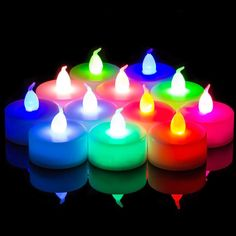 Set of 12 Battery Operated LED Multi-Color Flickering Tea Lights
