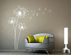 Big Dandelions Wall Decal Dandelion Wall Decals by DecalsArtShop