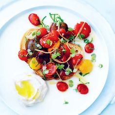 Rustic tomato salad with whipped feta