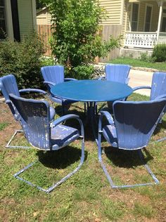 Vintage lawn furniture, omg these metal chairs would burn you so bad in the summer! Vintage Metal Glider, Vintage Metal Chairs, Vintage Outdoor Furniture, Metal Lawn Chairs, Lawn Furniture, Vintage Decor, Antique Metal, Metal Furniture, Blue Velvet Dining Chairs