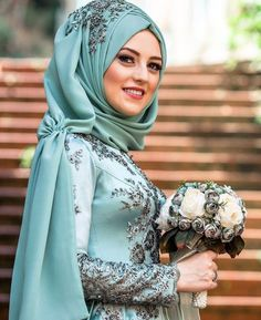 Elegant Muslim Hijab Wedding Costumes Looks – Girls Hijab Style & Hijab Fashio… Muslim Wedding Dresses, Muslim Brides, Wedding Hijab, Muslim Dress, Muslim Girls, Muslim Women, Islamic Fashion, Muslim Fashion, Modest Fashion