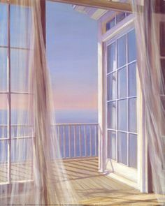 windows blowing white curtains beach | Sea Breeze I is available from Allposters.com