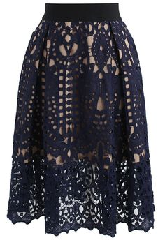 Profound Baroque Crochet Skirt in Navy- New Arrivals - Retro, Indie and Unique Fashion
