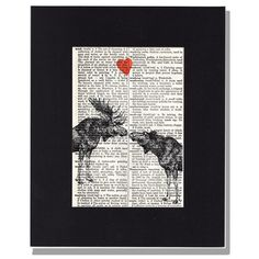 Moose love vintage dictionary page print Moose Lovers with heart Upcycled Artwork via Etsy