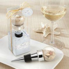 Seaside Sand and Shell-Filled Bottle Stopper Wedding Favor | #exclusivelyweddings | #beachwedding