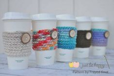 "15min coffee sleeve - Looking for a FAST and EASY project? I have just the thing! These coffee sleeves are great for the coffee (or tea ;) ) lovers in your life. Pair it with a $1 reusable Starbucks cup and you have the perfect little gift. I'm calling it Frayed Knot's 15 min Coffee Sleeve because that's how long it takes me to work one up! I would say the ""15? minutes will vary with everyone BUT either way the results are FAST, FUN, and FUNCTIONAL! :)"
