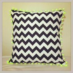 chevron cushion cover with crochet pompom trim www.facebook.com/sallybuttonstore