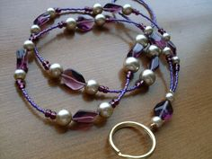 Purple and Grey Pearl Beaded Lanyard by Spasojevich on Etsy, $15.00