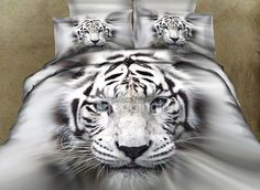 New Arrival 100% Cotton Lifelike White Tiger 3D Printed 4-Piece Bedding Sets/Duvet Cover Sets - beddinginn.com