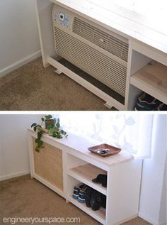 The Chic Technique: How to make a shoe rack or table to conceal an ac unit, home decor, how to, painted furniture, window treatments Ikea Furniture, Furniture Makeover, Painted Furniture, Air Conditioner Cover Indoor, Window Ac Unit, Wall Unit Ac, Window Ac Cover, Hide Ac Units, Make A Shoe Rack