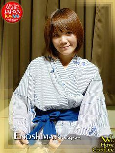 """Joy wears """"Yukata"""", took in the room in the hotel """"Kinokuniya""""."""