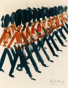 Paul Maze (Anglo-French Post ~ Marching Guards (makes me want to start singing les mis ) Post Impressionism, Art Sketchbook, Maze, Painting & Drawing, Illustration Art, Illustration Children, Watercolor Art, Art Photography, Art Gallery