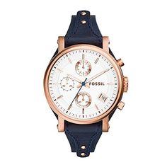 Bracelet Models - Fossil Original Boyfriend Chronograph Navy Leather Watch - Most Pin Fossil Watches, Cool Watches, Watches For Men, Ladies Watches, Unique Watches, Women's Watches, Wrist Watches, Christ Schmuck, Jewelry