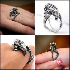 "Stainless Steel ""Xenomorph"" Ring                                                                                                                                                                                 More"
