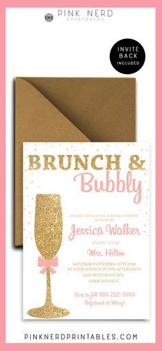 Bridal shower invitation, glitter bridal shower, gold champagne glass, pink and…