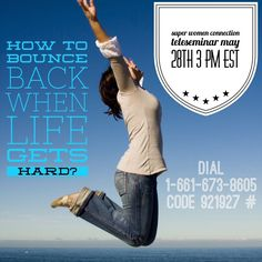 Ladies are you finding it hard to deal with setback, having hard times? Just in case . It's time for a boost on todays ‪‎Super Women Connection‬ Daily Teleseminar! I am excited for the call! Super Women, On Today, Hard Times, Just In Case, Things That Bounce, Connection, Life, Tough Times