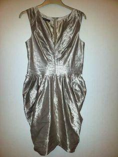Womens dress size 10 Atmosphere Gold sleeveless v-neck with gathered panels