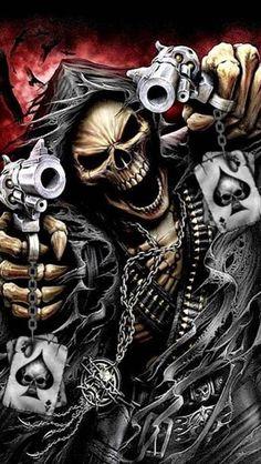 Pyramid America Spiral Assassin Grim Reaper with Guns Revolvers Skeleton Death Fantasy Horror Biker Cool Wall Decor Art Print Poster Skull Motorcycle, Motorcycle Tank, La Muerte Tattoo, Skull 3d, Art Harley Davidson, Tattoo Crane, Totenkopf Tattoos, Chicano Art, Skull Tattoos