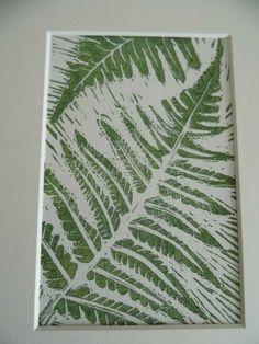 Green Ferns Original Linocut / Lino Print by SussexArtStudio, £30.00