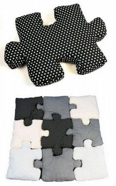 puzzle pillows - the ideas I have......use photos instead - one for each family member.....