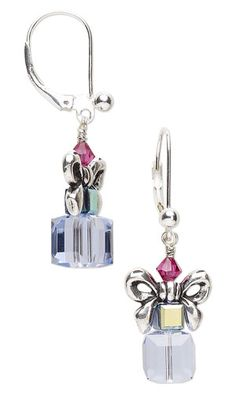 Earrings with Swarovski Crystal Beads and Antiqued Silver-Finished Pewter Beads