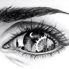 Eye Art with skyline & Ferris wheel Amazing Drawings, Cool Drawings, Amazing Art, Dancing Drawings, Unique Drawings, Pretty Drawings, Drawings Of Angels, Creative Drawing Ideas, Realistic Eye Drawing