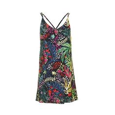 TopShop Petite Jungle Print Slip Dress (61 CAD) ❤ liked on Polyvore featuring dresses, multi bright, bright dresses, strappy slip dress, viscose dress, topshop dresses and bright colored dresses
