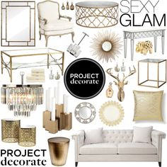 """Project Decorate: Sexy Glam With Honey We're Home"" by dingonunnu on Polyvore (take an idea or two from this collage, too many is overkill.)"