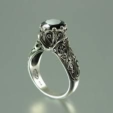 black diamond vintage engagement ring