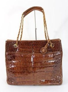 Chanel Vintage Brown Alligator Tote Handbag