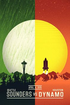 The different colors green and orange on either side and the dividing of the moon along the same vertical axis brings balance to the image.