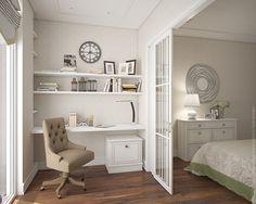 Рабочее место: стол-панель, открытые полки, небольшая тумба и удобное кресло на колесиках.