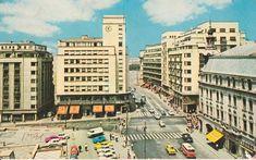 Cal Victoriei intersectia cu Ion Campineanu (fost 13 Decembrie) in 1970 Bucharest Romania, Old City, Timeline Photos, Verona, Childhood Memories, Times Square, Tourism, Buildings, Travel