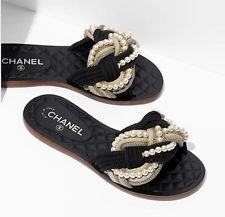 Chanel Pearl Slides Mules Sandals, NEW