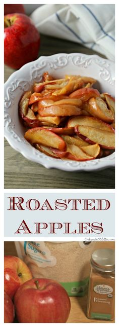 Roasted Apples from CookingInStiletto. are the perfect accompaniment to your favorite pork or ham recipe - sweetly spiced with a hint of lemon, these Roasted Apples will be a hit! Side Dishes For Ham, Holiday Side Dishes, Best Side Dishes, Vegetable Side Dishes, Pork Roast Side Dishes, Pork Roast Recipes, Ham Recipes, Side Dish Recipes, Cooking Recipes
