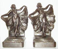 Metal Bronze Bookends Loie Fuller Dancing x 1 1927 Art Nouveau Antique Book Ends | eBay