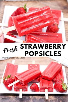 Fresh strawberry popsicles are the perfect way to use up your fresh summer berries. Made with only 3 ingredients and no added sugar. | Simply Low Cal @simplylowcal #strawberrypopsicles #freshstrawberrypopsicles #summerberries #popsiclerecipe #healthypopsicles #simplylowcal Frozen Meals, Frozen Desserts, Fun Desserts, Delicious Desserts, Healthier Desserts, Best Dessert Recipes, Vegan Recipes Easy, Snack Recipes, Fruit Recipes